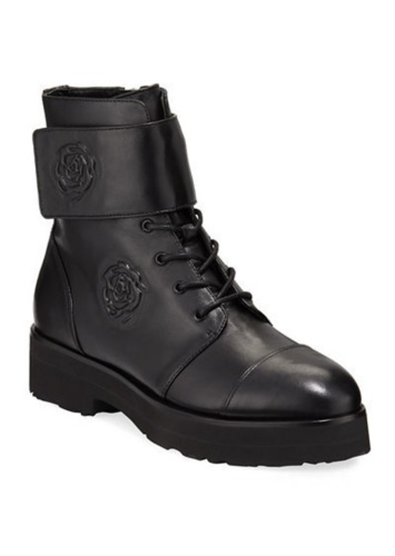 Taryn Rose Valentina Leather Rose Combat Booties
