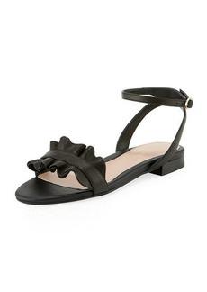 Taryn Rose Vesta Ruffle Leather Flat Sandals