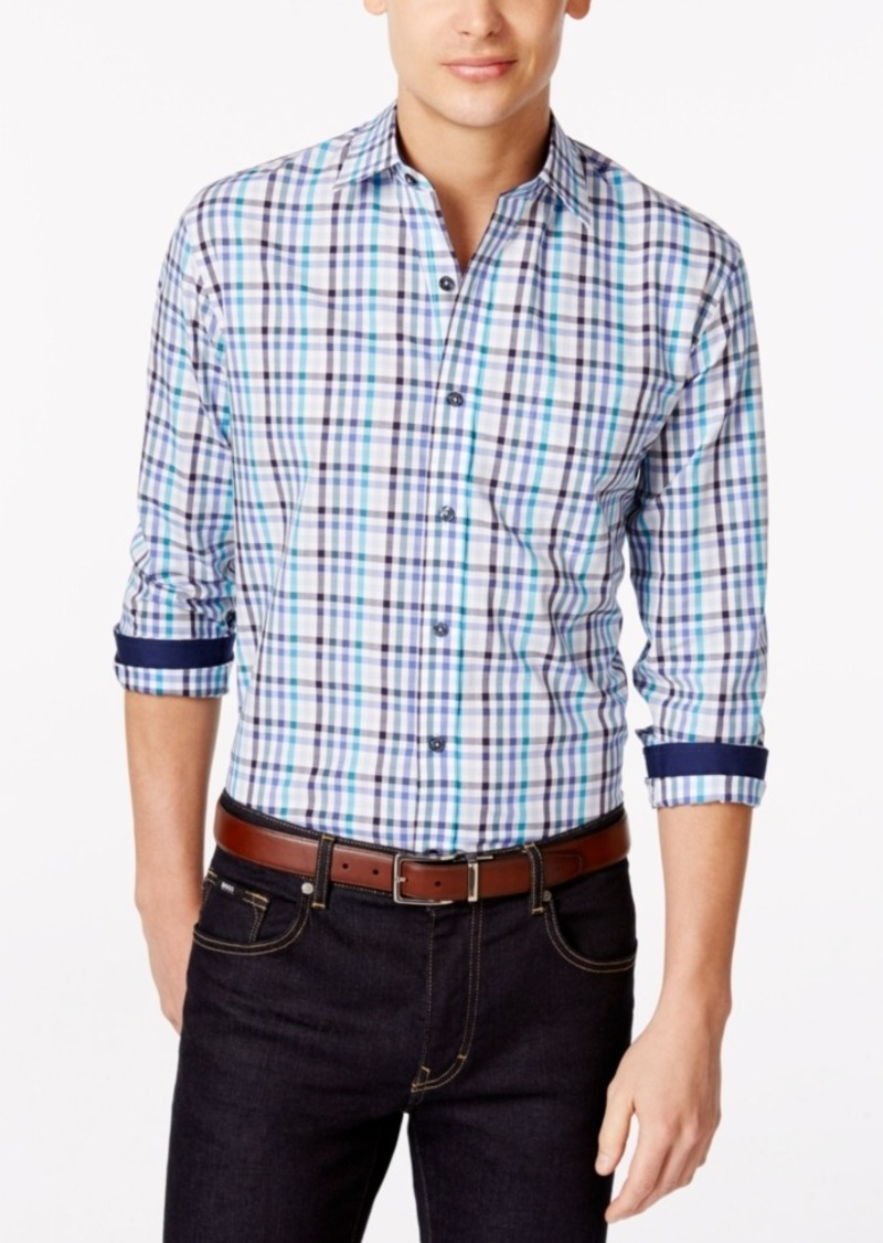 Tasso Elba Blue Pattern Big & Tall Shirt, Only at Macy's