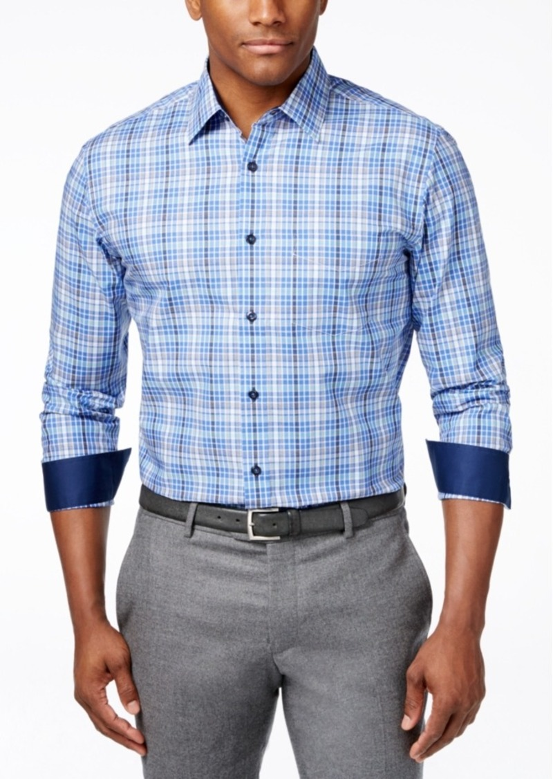 Tasso Elba End-On-End Plaid Long-Sleeve Shirt, Only at Macy's