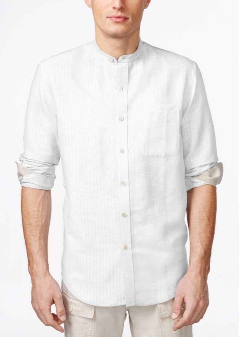 Tasso Elba Island Banded Collar Textured Striped Shirt, Only at Macy's