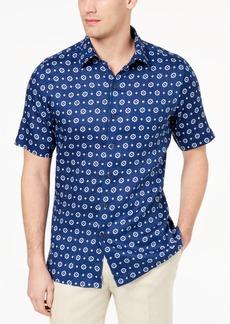 Tasso Elba Island Men's Medallion-Print Linen Shirt, Created for Macy's