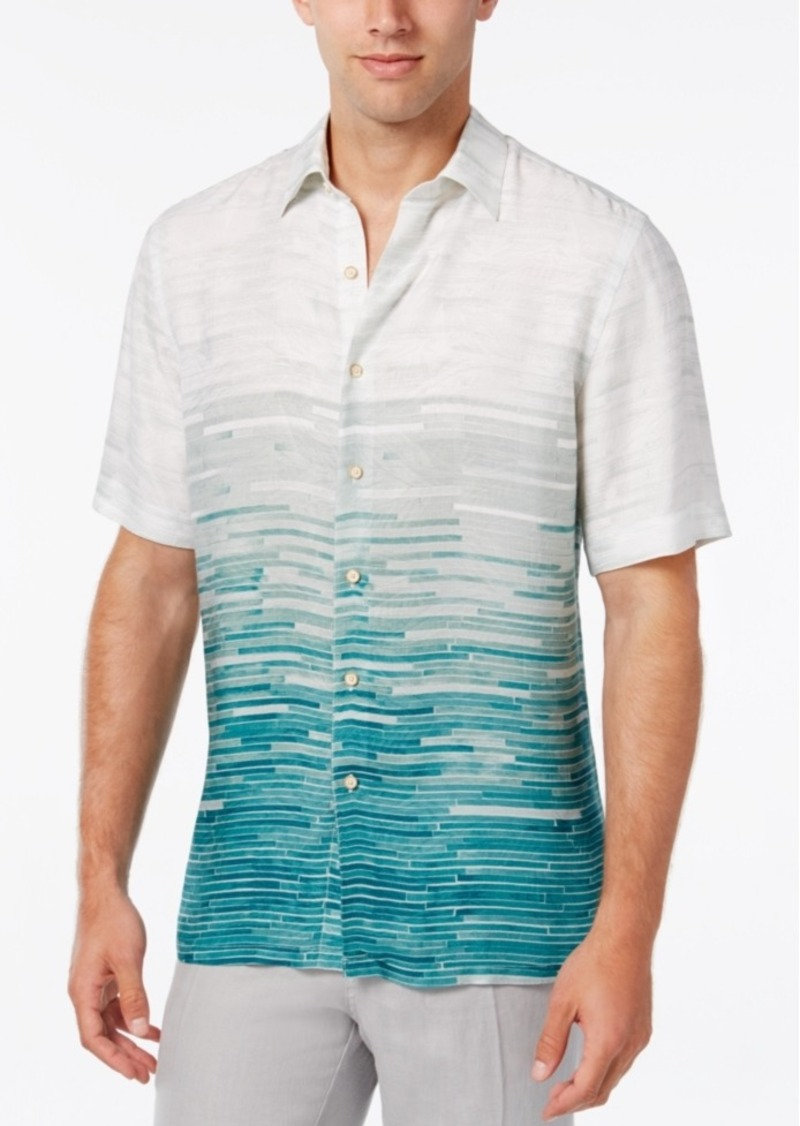 Tasso Elba Island Men's Ombre Tile-Print Short-Sleeve Shirt, Only at Macy's