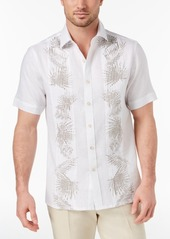 Tasso Elba Island Men's Palm-Print Pintucked Linen Shirt, Created for Macy's
