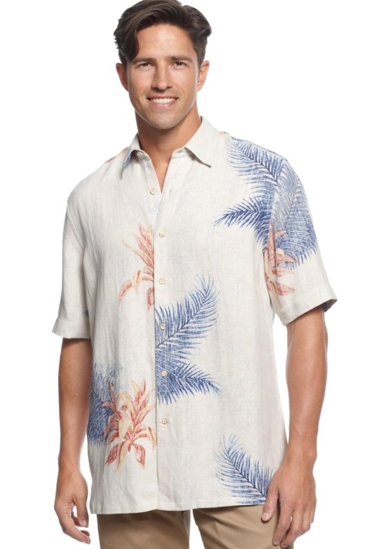 Tasso Elba Island Shirt, Short-Sleeve Thomas Fern Silk/Linen-Blend Shirt