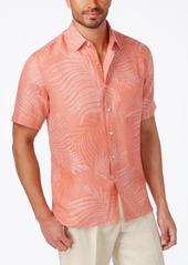 Tasso Elba Linen Leaf Jacquard Silk Linen Blend Short-Sleeve Shirt, Created for Macy's