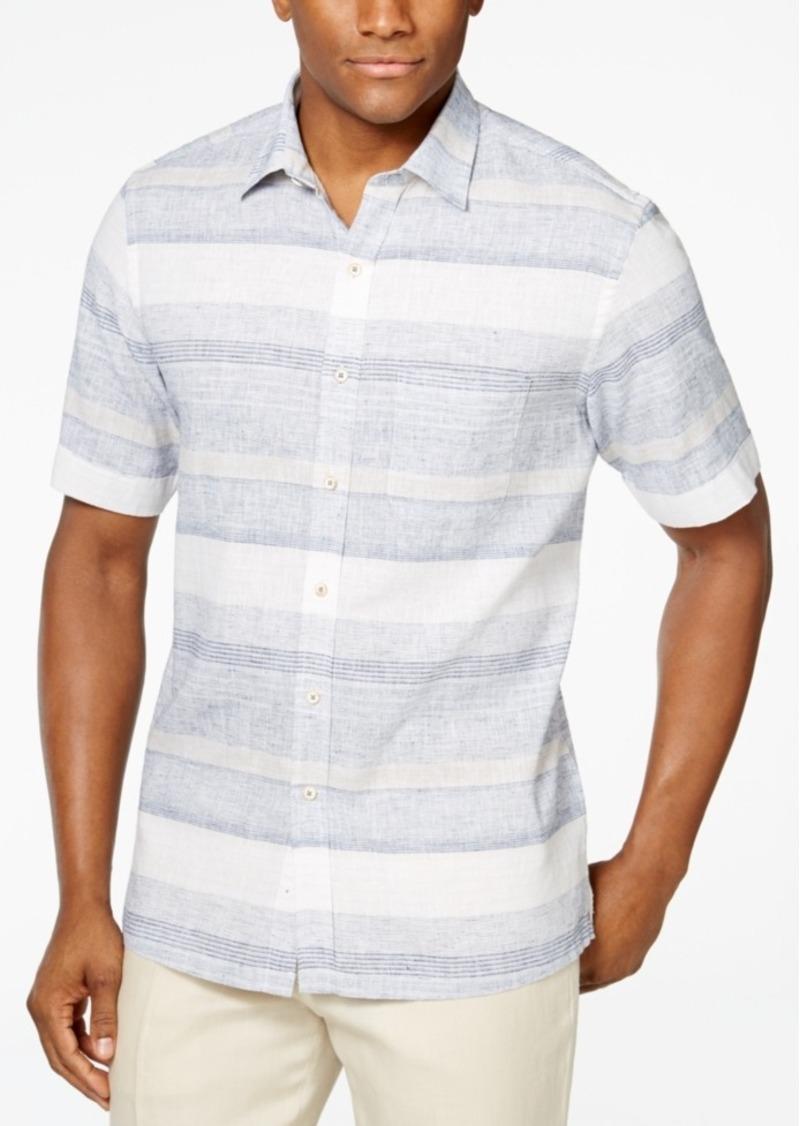 Tasso Elba Linen Short-Sleeve Horizontal Shirt, Only at Macy's