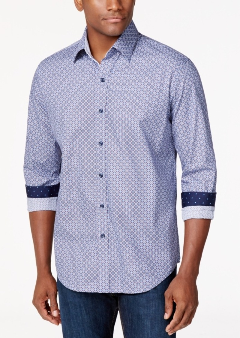 Tasso Elba Medallion-Print Long-Sleeve Shirt, Created for Macy's