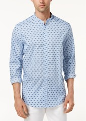 Tasso Elba Men's Banded Collar Printed Shirt, Created for Macy's
