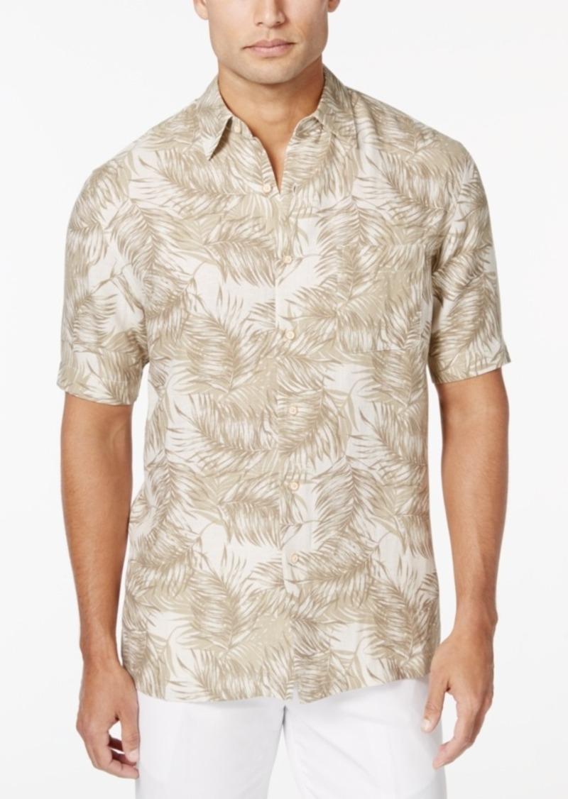 Tasso Elba Men's Big & Tall Palm-Print Short-Sleeve Shirt, Only at Macy's
