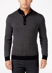 Tasso Elba Men's Big and Tall Jacquard Four-Button Geometric Sweater, Only at Macy's