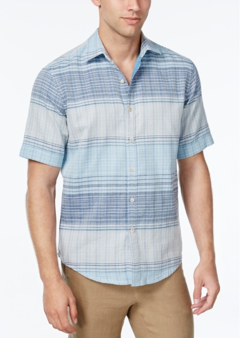 Tasso Elba Men's Big and Tall Plaid Short-Sleeve Shirt, Classic Fit