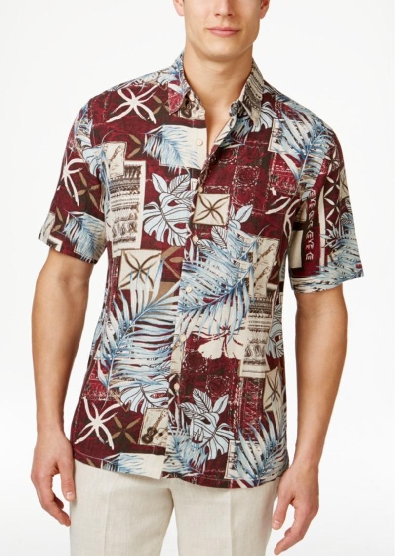 Tasso Elba Men's Big and Tall Silk Linen Patchwork Short-Sleeve Shirt