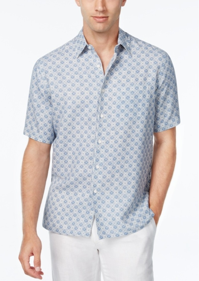Tasso Elba Men's Silk Linen Tile-Print Short-Sleeve Classic-Fit Shirt, Only at Macy's