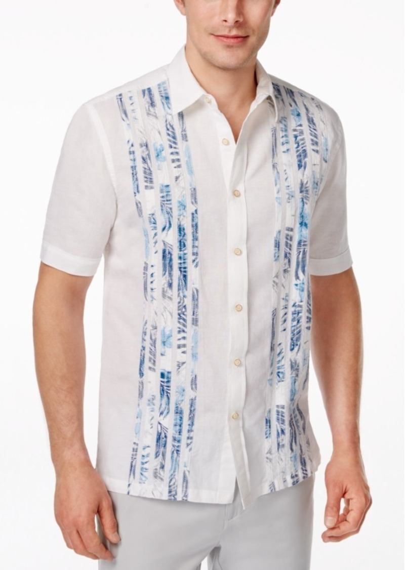Tasso Elba Men's Big and Tall Tropical Taping Short-Sleeve Shirt, Only at Macy's