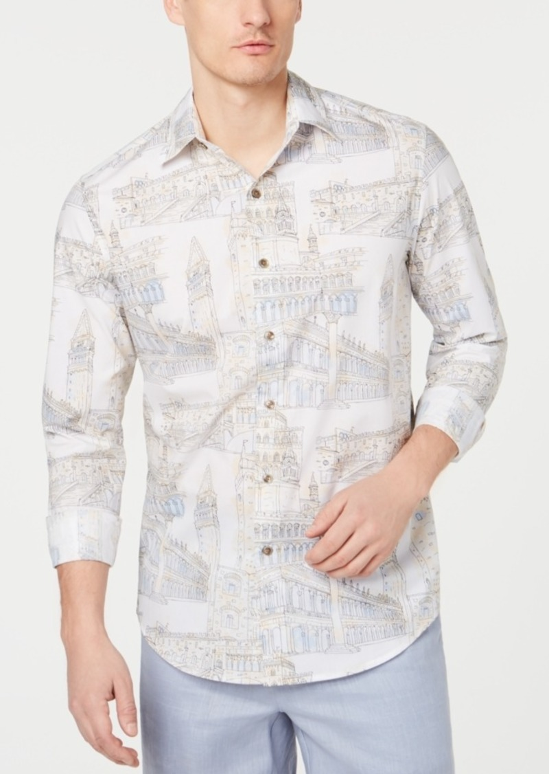 Tasso Elba Men's Building-Print Shirt, Created for Macy's