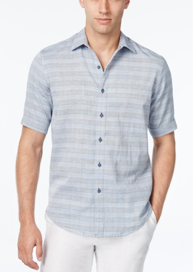 Tasso Elba Men's Chambray Stripe Short-Sleeve Shirt, Classic Fit
