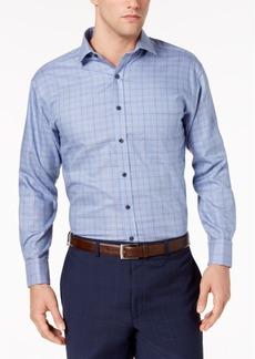 Tasso Elba Men's Classic/Regular Fit Non-Iron Medium Twill Plaid French Cuff Dress Shirt, Created for Macy's