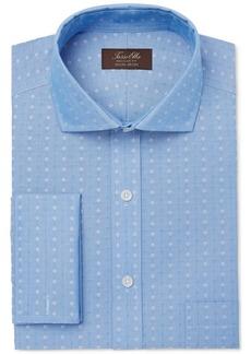 Tasso Elba Men's Classic/Regular Fit Non-Iron Multi Diamond Dobby French Cuff Dress Shirt, Created for Macy's