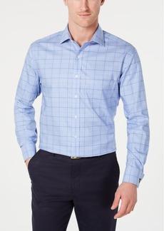 Tasso Elba Men's Classic/Regular Fit Non-Iron Supima Cotton Medium Twill Glen Plaid French Cuff Dress Shirt, Created for Macy's