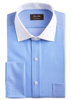 Tasso Elba Men's Classic/Regular-Fit Non-Iron Supima Cotton Small Herringbone French Cuff Dress Shirt, Created for Macy's