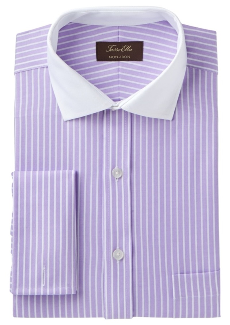 Tasso Elba Mens Classic Fit Non-Iron Herringbone French Cuff Dress Shirt