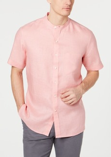 Tasso Elba Men's Crossdye Linen Banded Collar Shirt, Created for Macy's