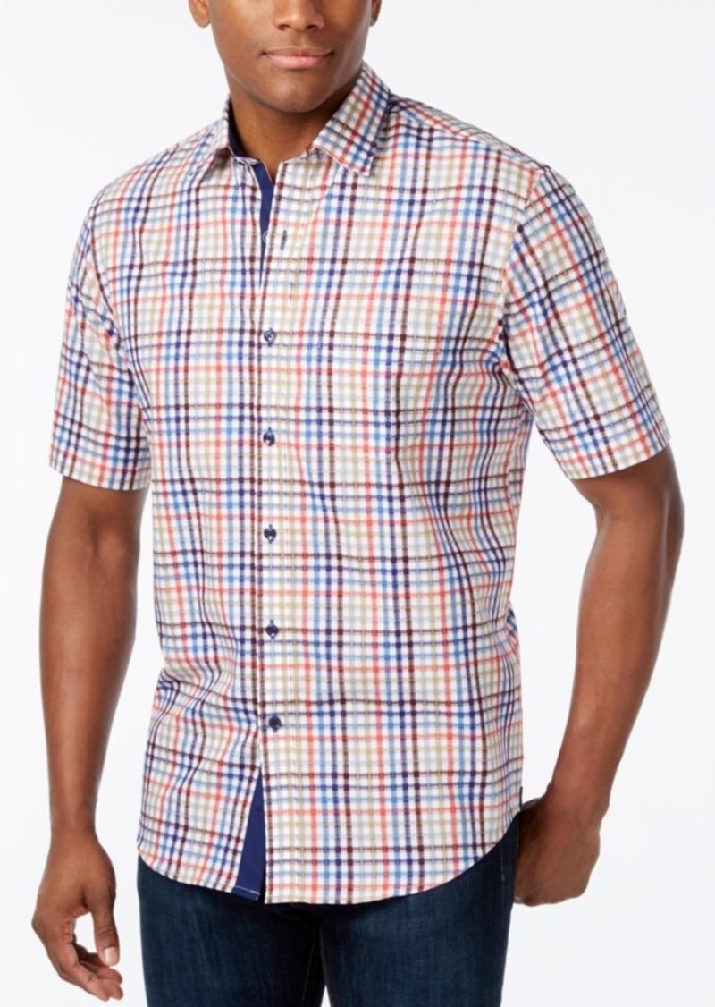 Tasso Elba Men's Fancy Check Short-Sleeve Shirt, Only at Macy's