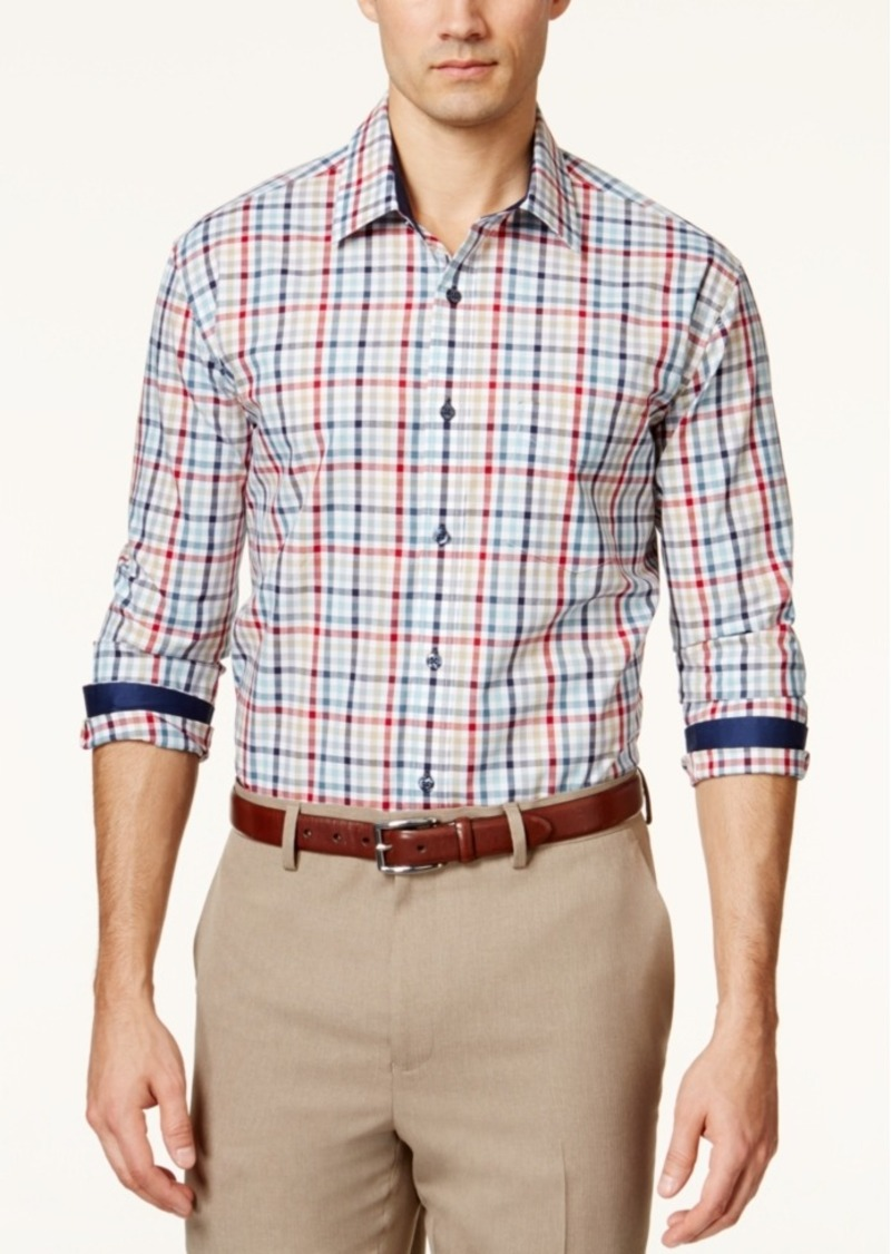 Tasso Elba Men's Fancy Multi-Checked Long-Sleeve Shirt, Only at Macy's