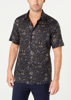 Tasso Elba Men's Floral-Print Linen Shirt, Created for Macy's