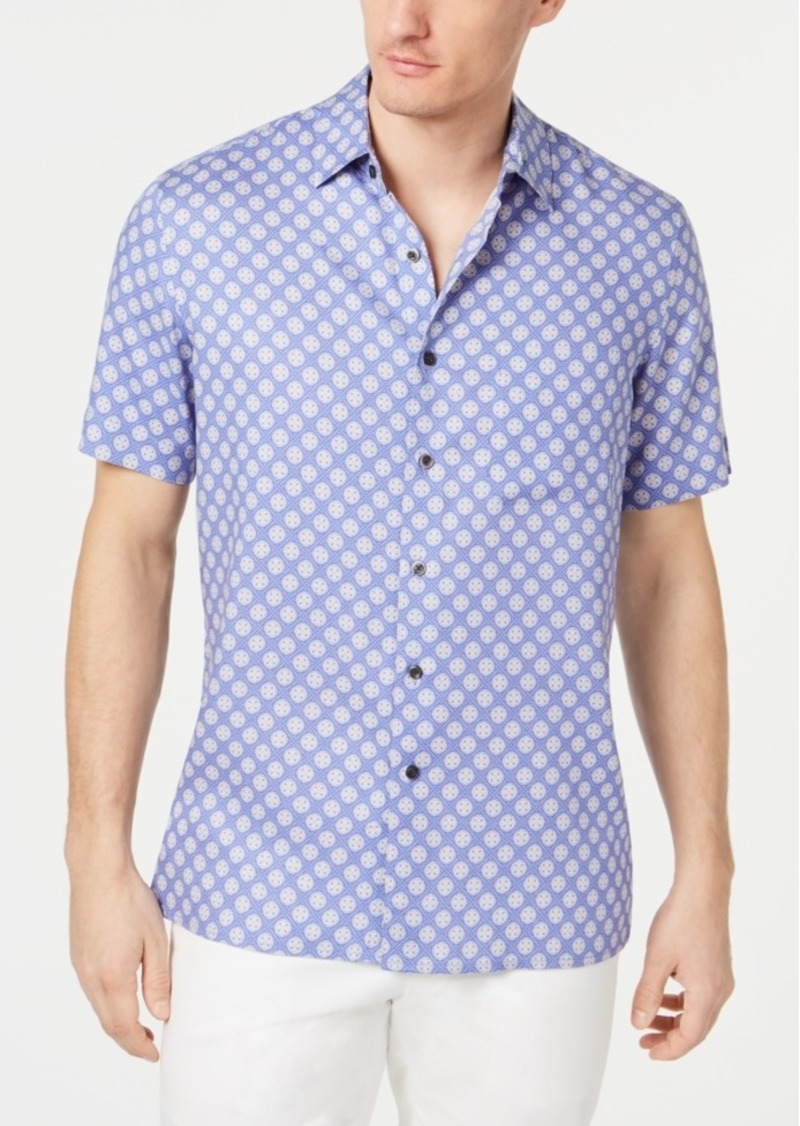 Tasso Elba Men's Fulano Medallion-Print Silk Shirt, Created for Macy's