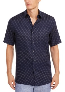 Tasso Elba Men's Geo-Print Linen Shirt, Created for Macy's