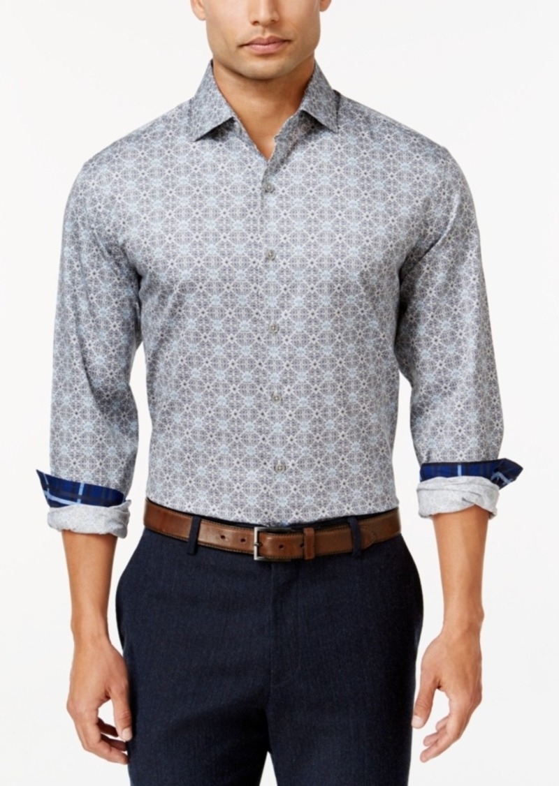 Tasso Elba Men's Big and Tall Geometric Long-Sleeve Shirt, Classic Fit