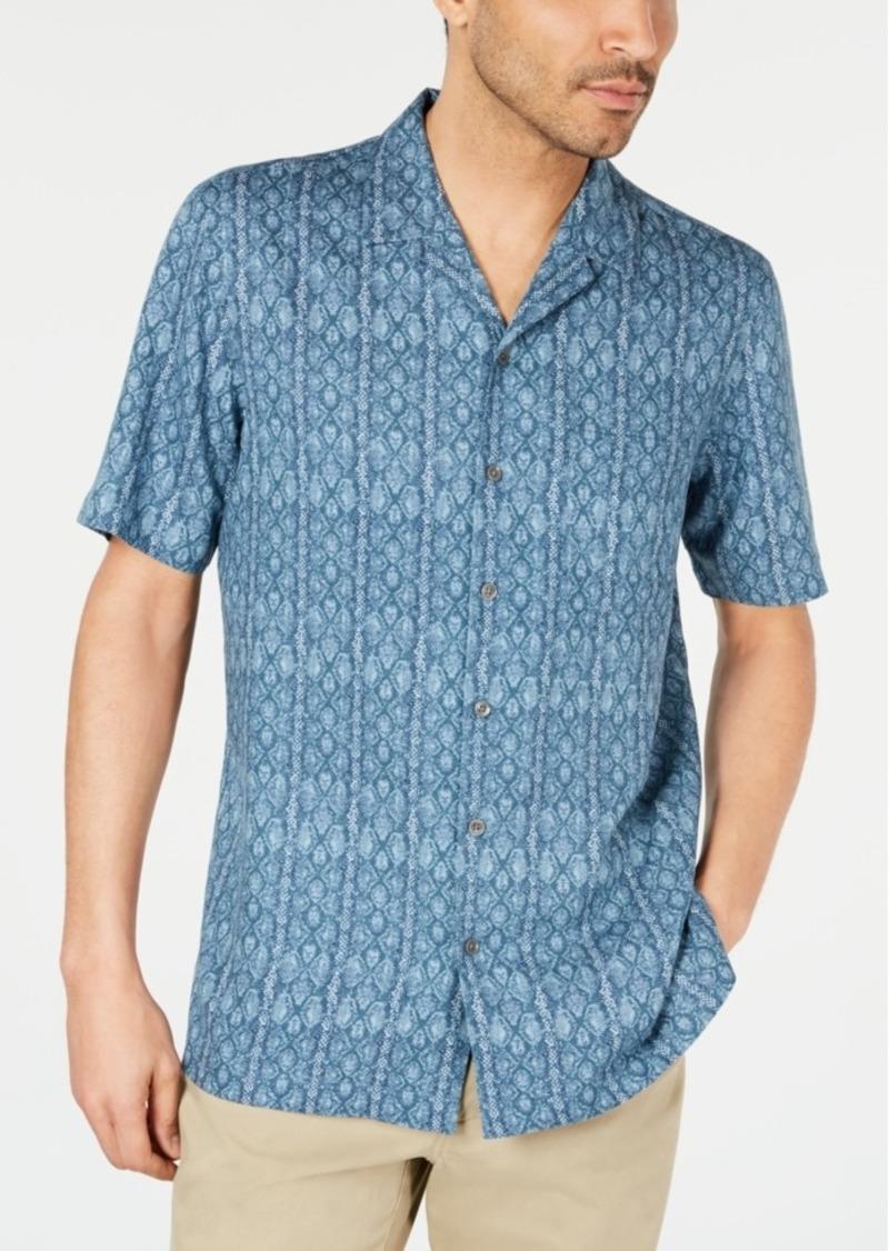 Tasso Elba Men's Reptile Graphic Camp Collar Silk Shirt, Created for Macy's