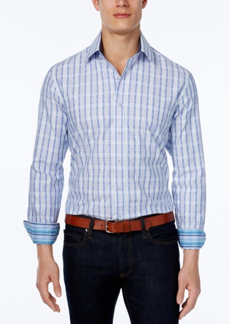 Tasso Elba Men's Grid Long-Sleeve Shirt, Classic Fit