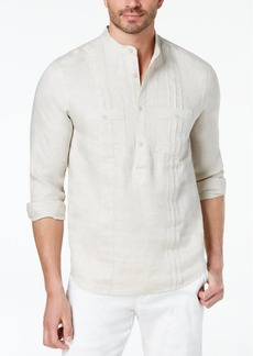 Tasso Elba Men's Guayabera Banded Collar Linen Shirt, Created for Macy's