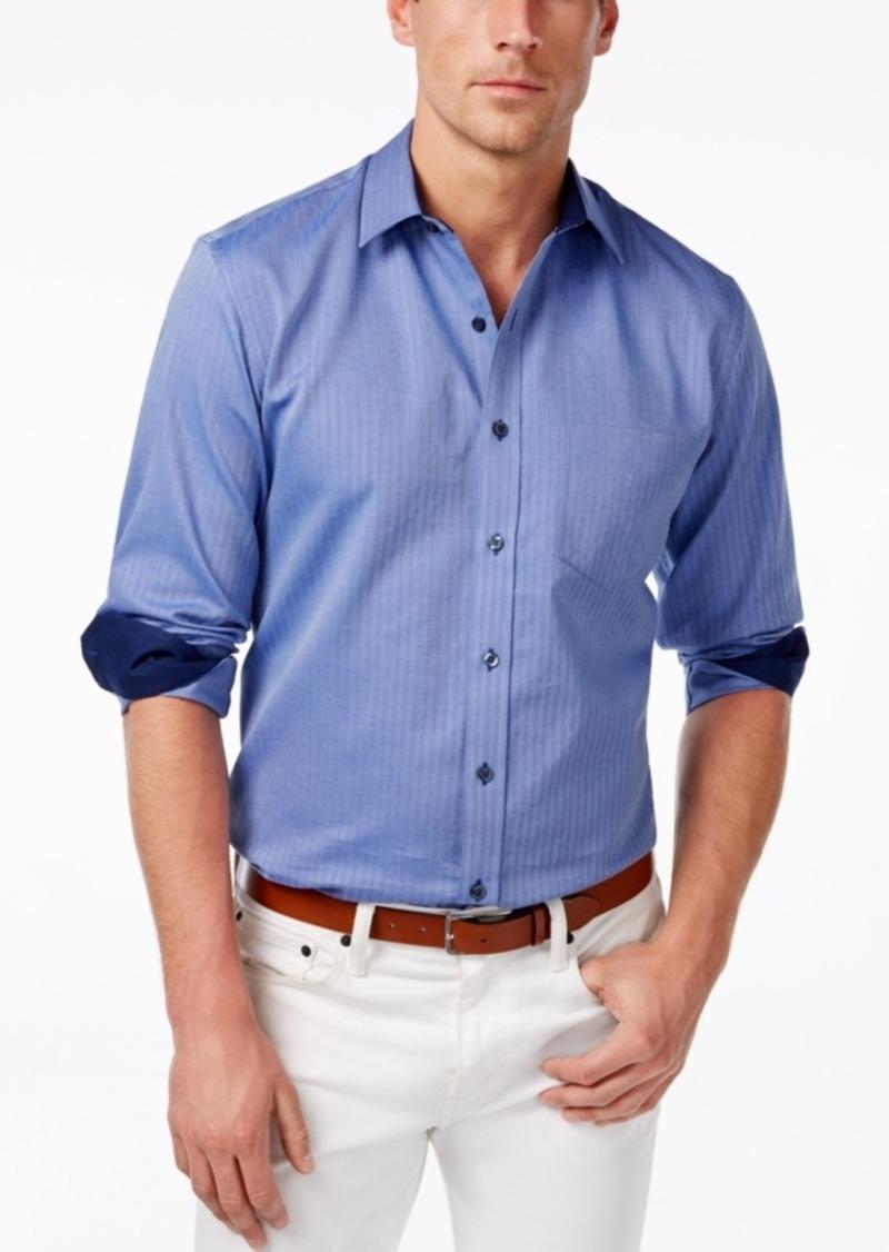 Tasso Elba Men's Herringbone Long-Sleeve Shirt, Only at Macy's