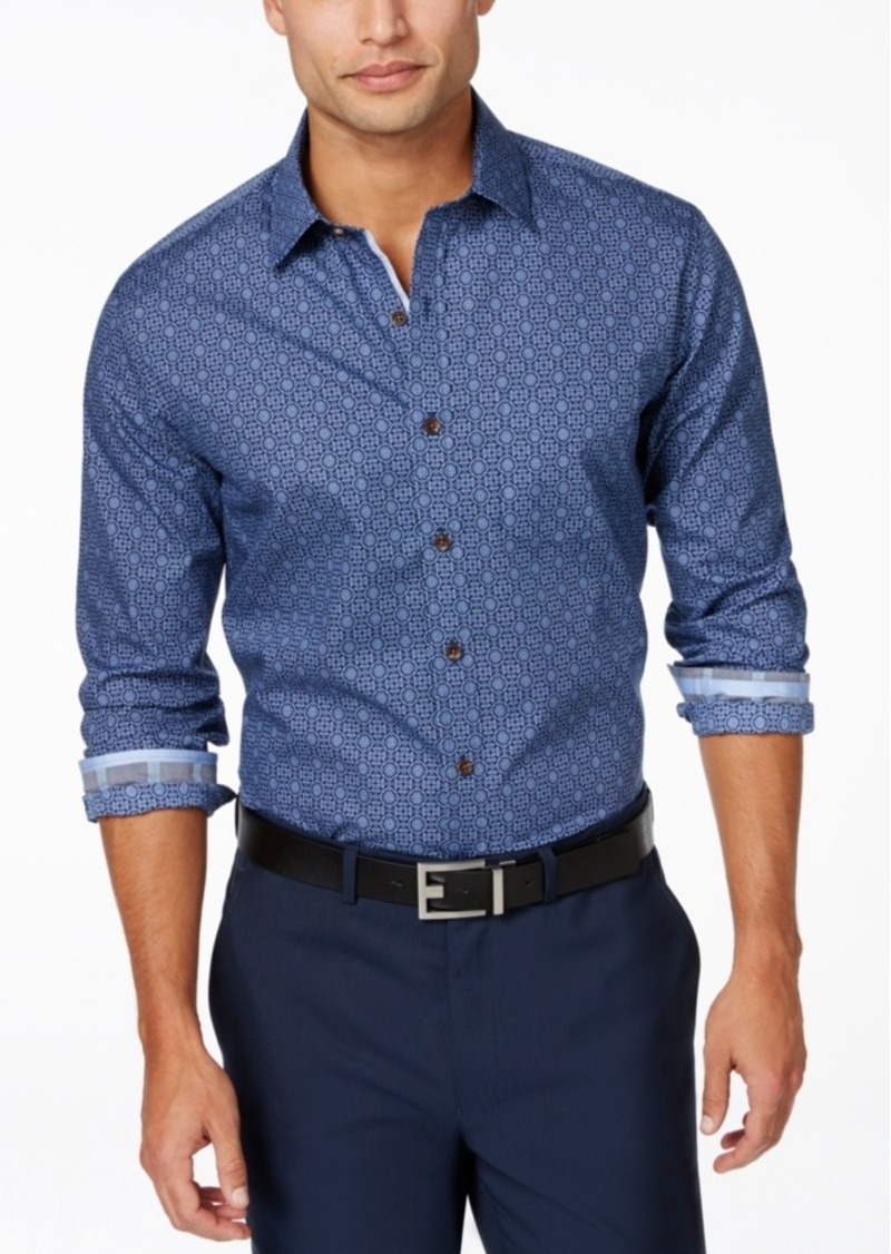 Tasso Elba Big and Tall Tile-Print Long-Sleeve Shirt, Only at Macy's