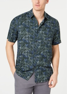 Tasso Elba Men's Leaf Grid Silk Shirt, Created for Macy's