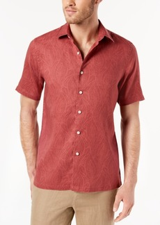 Tasso Elba Men's Leaf-Print Short Sleeve Button Down, Created for Macy's