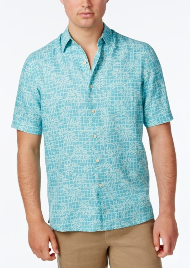 Tasso Elba Men's Leaf Print Short-Sleeve Shirt, Only at Macy's