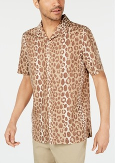 Tasso Elba Men's Leopard Graphic Camp Collar Silk Shirt, Created for Macy's