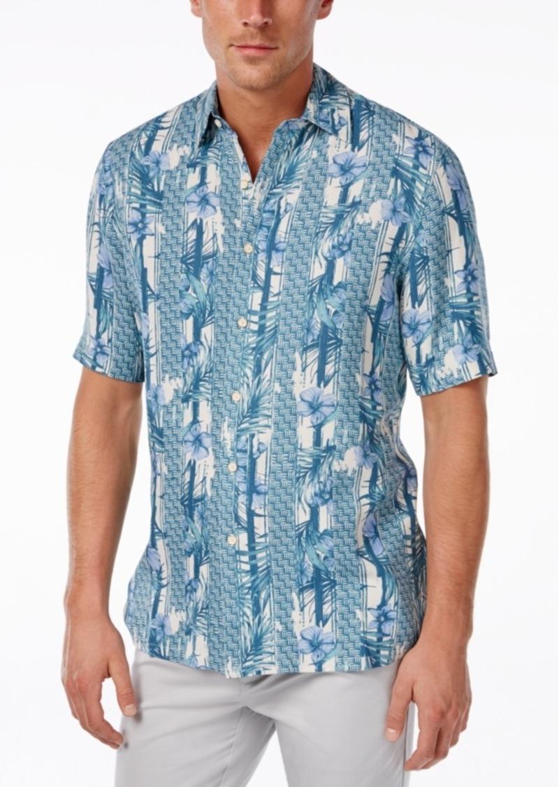 Tasso Elba Men's Big and Tall Silk Linen Print Short-Sleeve Shirt