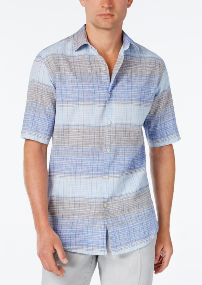 Tasso Elba Men's Linen Ombre Stripe Short-Sleeve Shirt, Classic Fit