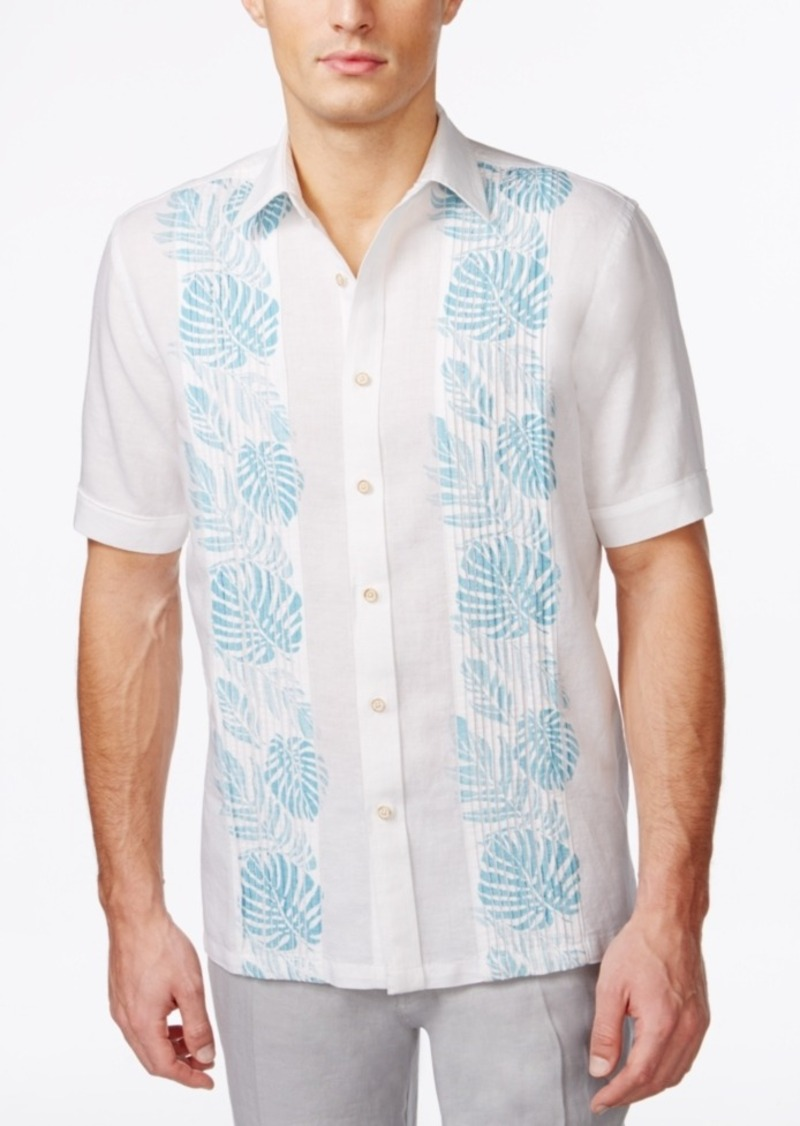Tasso Elba Men's Big and Tall Pintucked Floral Short-Sleeve Shirt, Only at Macy's