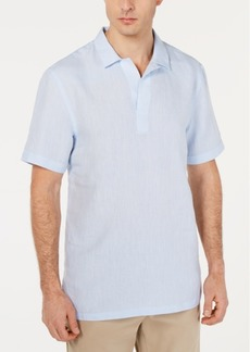 Tasso Elba Men's Island Popover Camp Collar Linen Shirt, Created for Macy's
