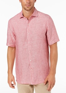 Tasso Elba Men's Linen Striped Shirt, Created for Macy's