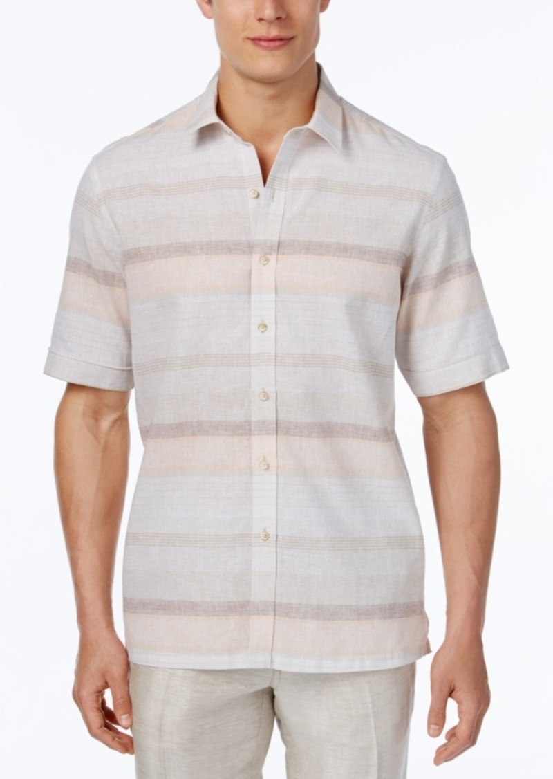 Tasso Elba Men's Linen Sunset Horizontal-Stripe Short-Sleeve Shirt, Classic Fit