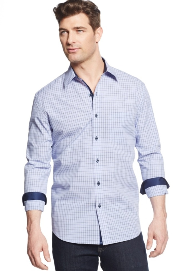 Tasso Elba Men's Big and Tall Long-Sleeve Check Shirt