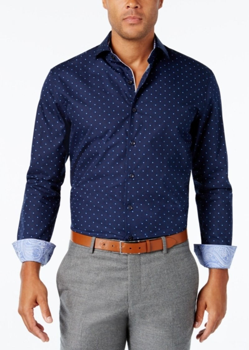 Tasso Elba Men's Long-Sleeve Dot-Print Shirt